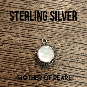 Round Sterling Charm Mother of Pearl & Marcasite